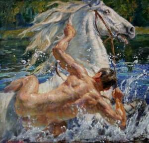 Он…  взрослый… падает… с коня…